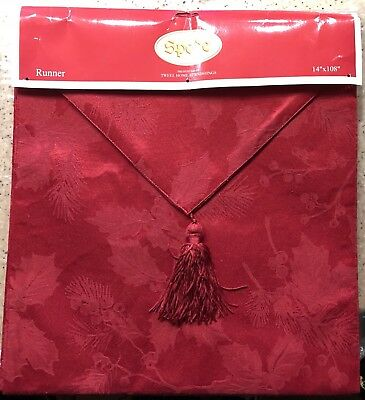"Spode Christmas Holly Pine RED Table Runner 14"" X 108"" Tweel Home New"