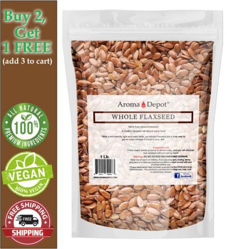 1 lb. Brown Whole Flax Seeds Omega-3 Non-GMO Linaza Raw Flaxseed Kosher 1 Libra