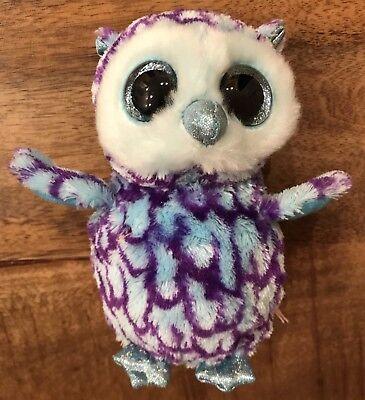 Ty Beanie Boos Oscar Blue Purple Owl 6  Plush Stuffed Sparkle Eyes Euc