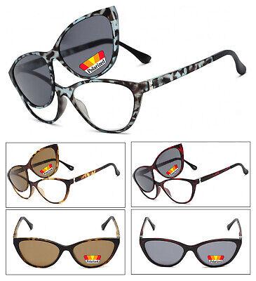 Cat Eye Frame Magnetic Clip On Polarized Sunglasses On Full Lens Reading (Magnetic Sunglasses)
