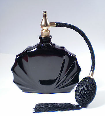 FRENCH PERFUME BOTTLE BLACK CLAM SHELL DESIGN BLACK ATOMIZER