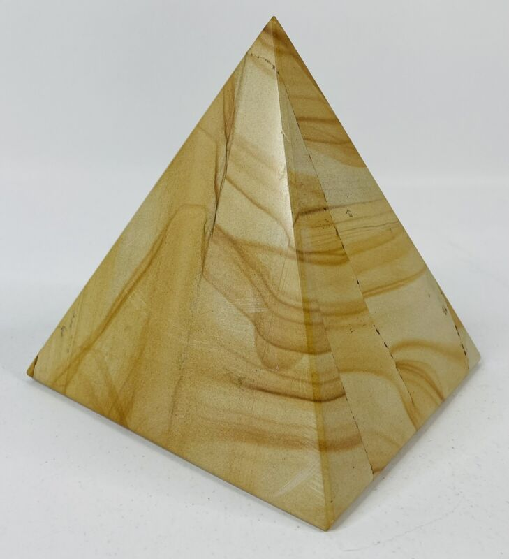 Large Solid Marble Alabaster Egyptian Pyramid Paperweight Stone Carving (6lbs)