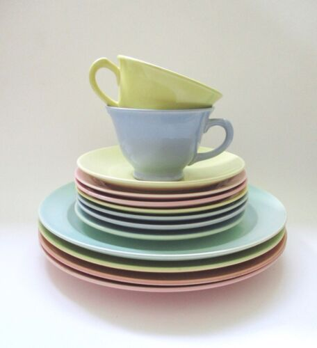 LOT 13 Pc Vtg Lu-Ray Pastels Plates Cups Saucer Mixed Pink Yellow Green Blue