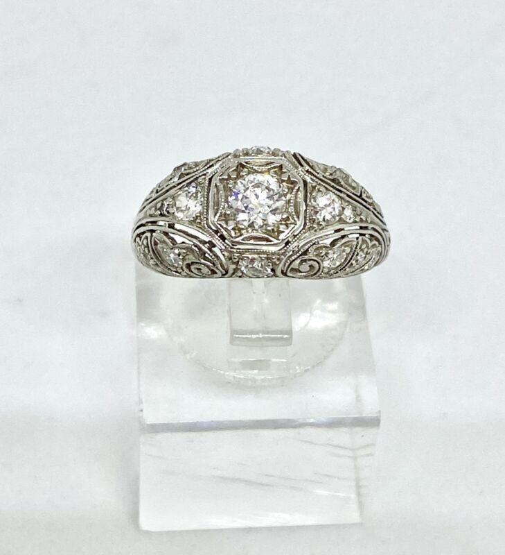 Art Deco Filigree Platinum Diamond Ring.. Early 1900's.Stunning Collectors Piece
