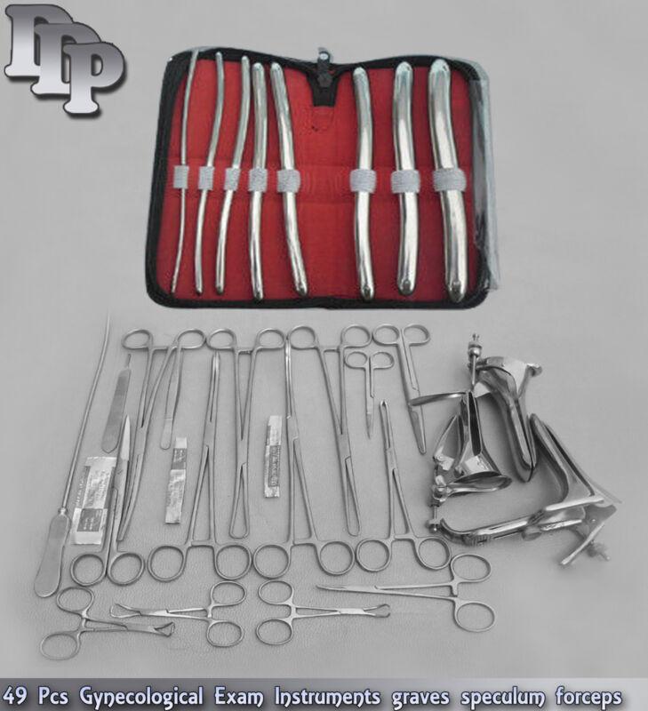 56 Pcs Gynecological Exam Instruments graves speculum forceps Dilators Sound set