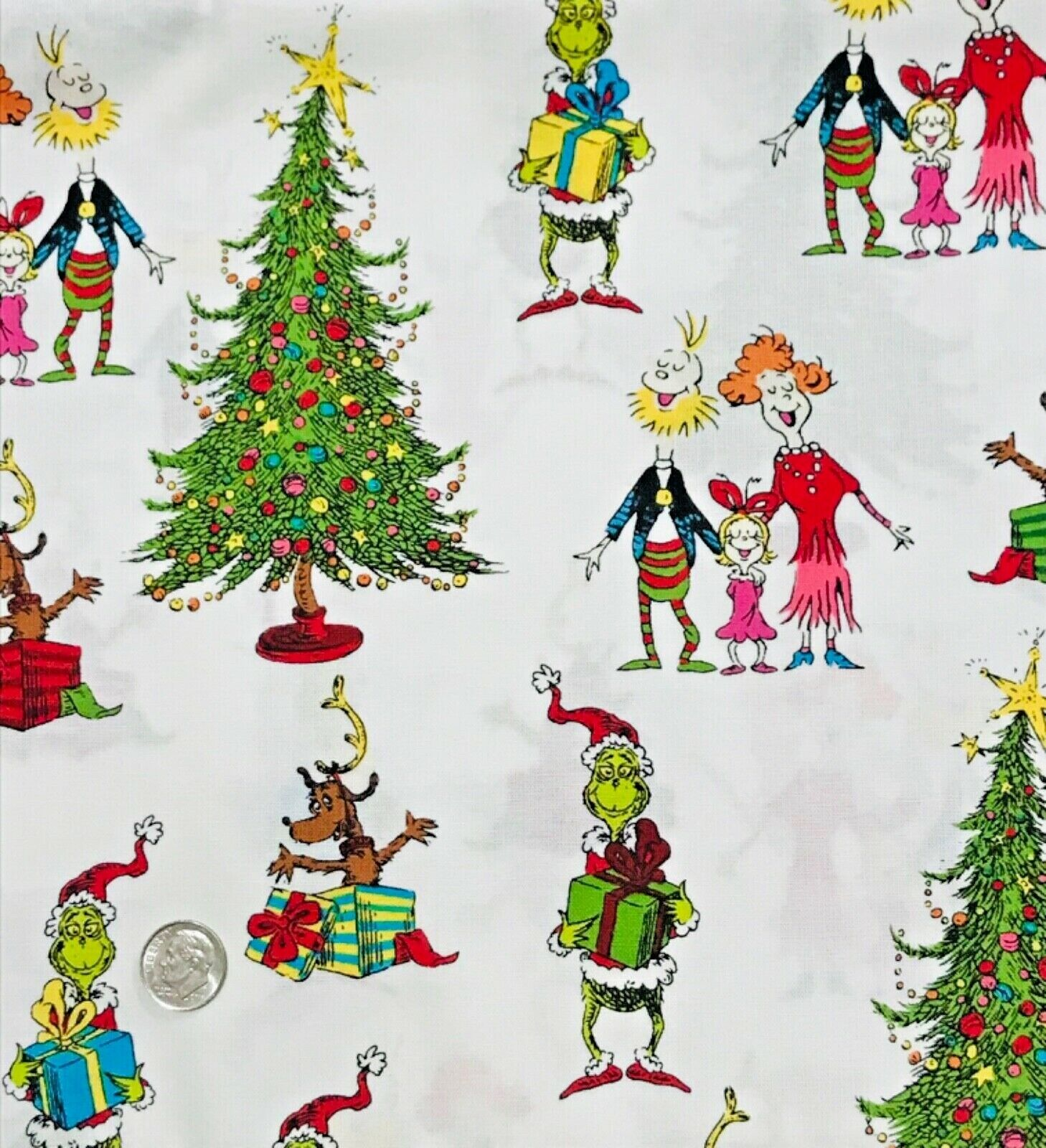 Olde Trunk Fabric Cotton Dr.Seuss How The Grinch Stole Christmas Movie DVD SCRAP - $2.84