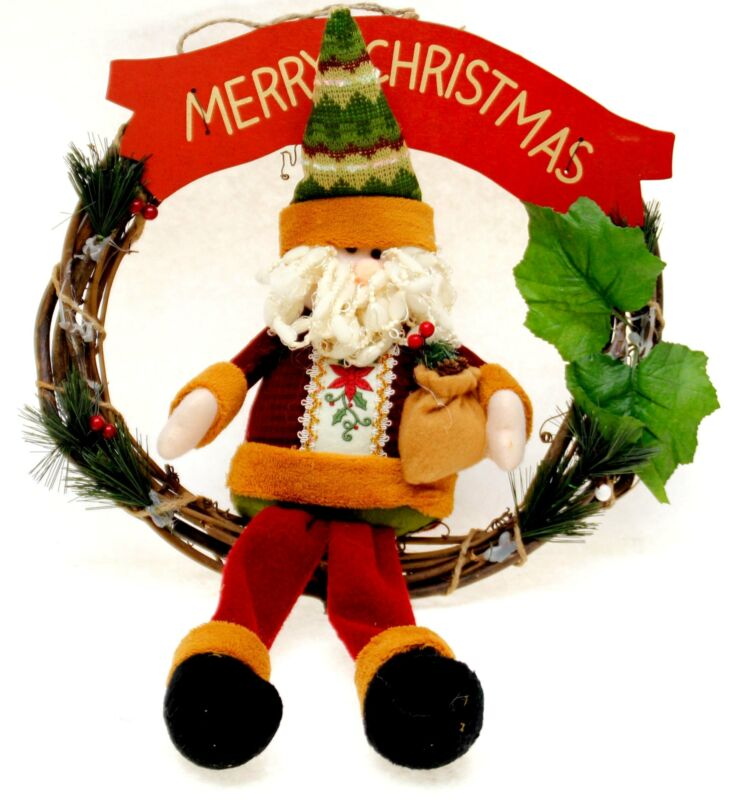"R.LANG Christmas Wreath Natural Rattan Decorated Doll Santa Claus Length 14""-NEW"