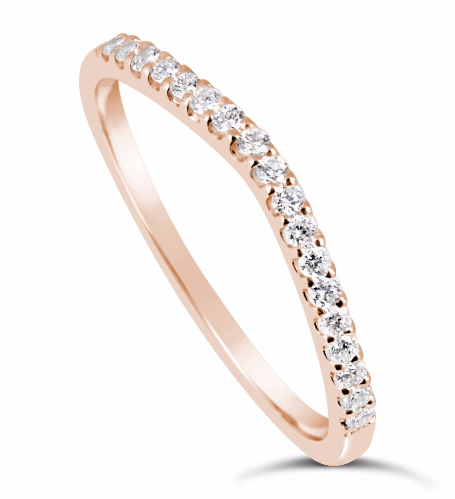 14k Rose Gold Simulated Diamond Wedding Band Ring Curved ...