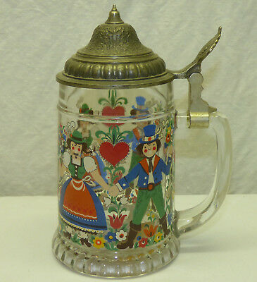 Vtg BMF Germany Glass Beer Stein w/ Pewter Lid Traditional Folk Costume - Beer Stein Costume