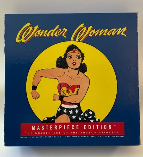 WONDER WOMAN MASTERPIECE EDITION 2001 SET w/ ACTION FIGURE & HARD COVER BOOK