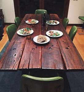 Recycled timber dining table (railway sleepers) with chairs Wishart Brisbane South East Preview
