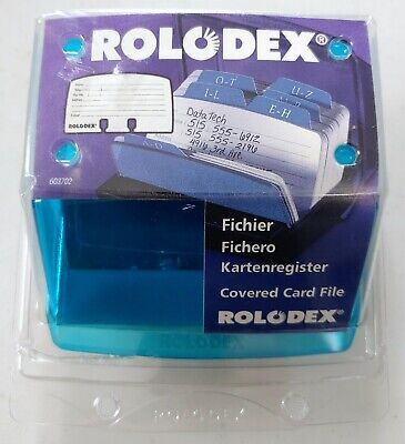 Vtg Rolodex Covered Card File W Cards - Imac Blueberry Color - Newell