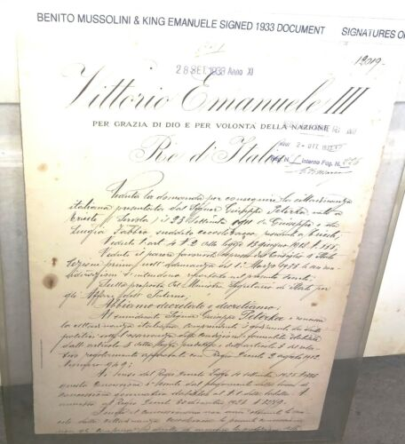Benito Mussolini & King Emanuele III Italy Signed Document 1933 N0 STAIN!
