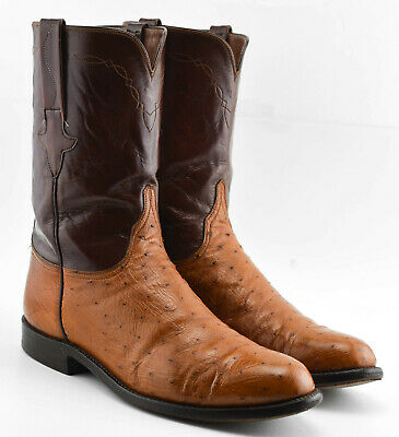 MENS LUCCHESE OSTRICH COGNAC ROPER COWBOY BOOTS SIZE 10.5 2E EXTRA WIDE BROWN