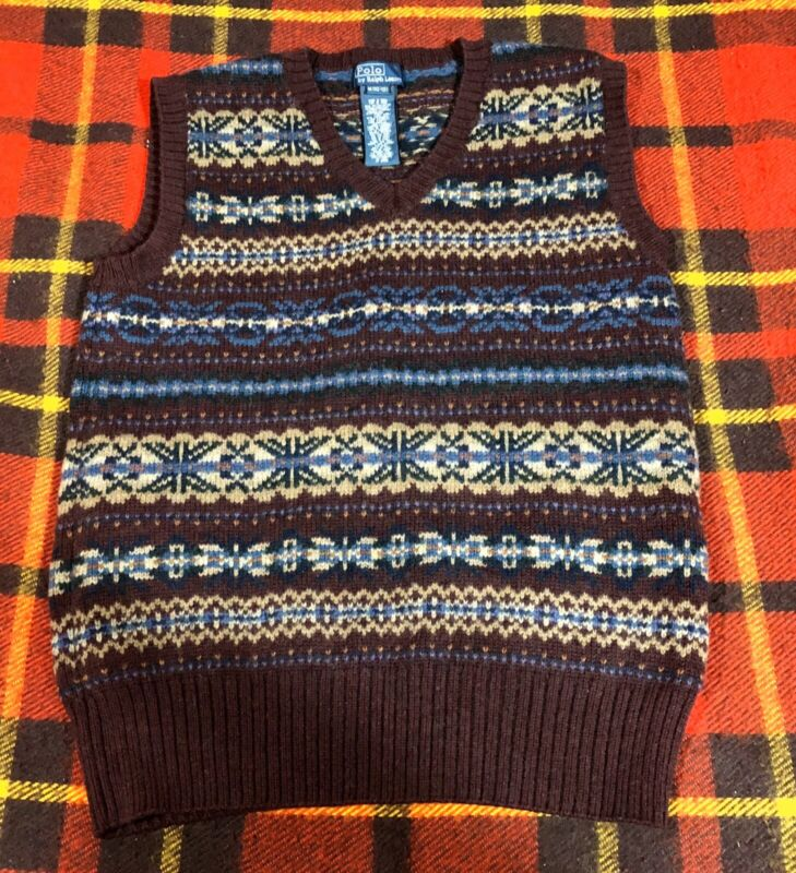 Vintage Polo By Ralph Lauren RL Kids Sz M 10/12 Lambs Wool Blend Sweater Vest