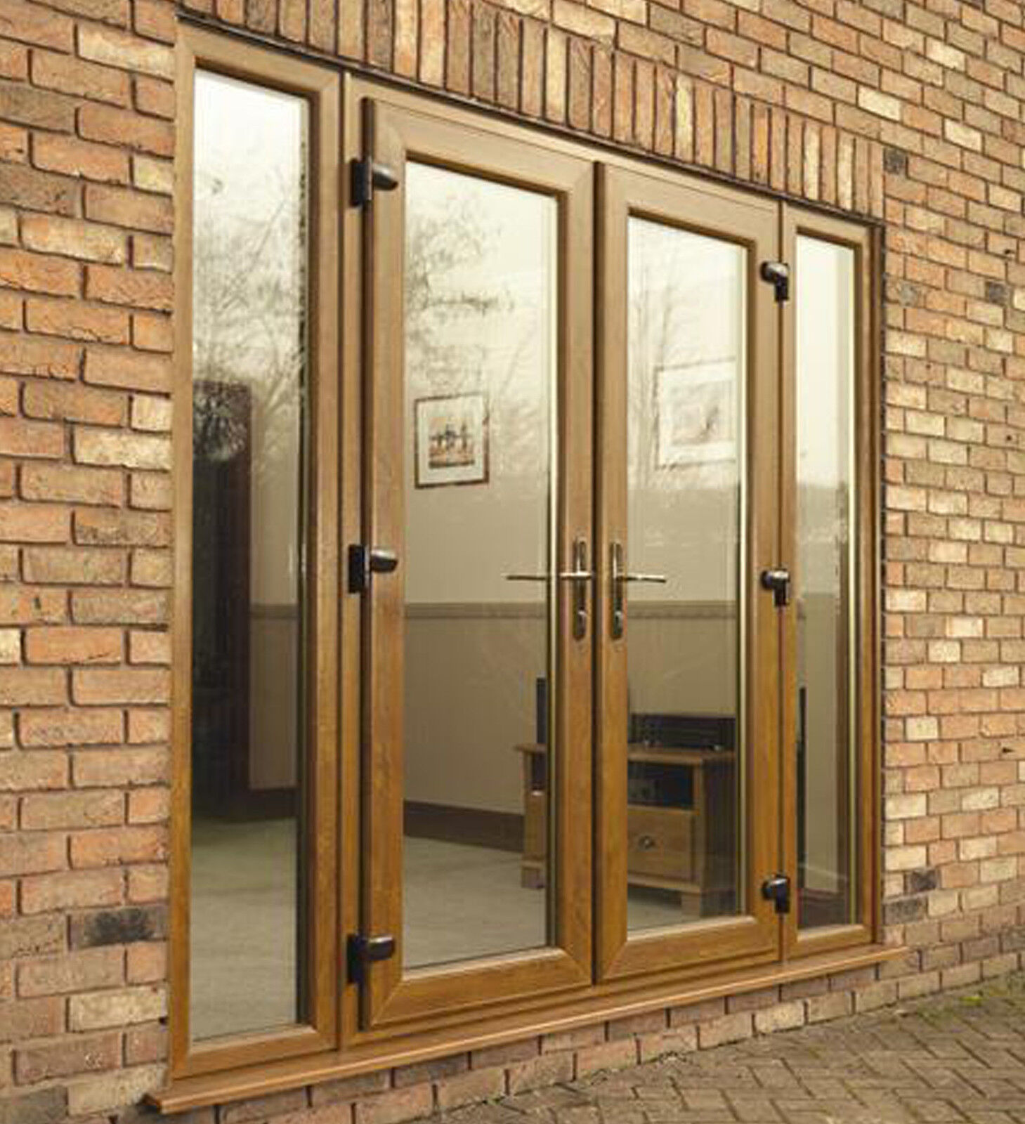 Upvc french doors 1100mm 1200mm white brown oak for Upvc french doors