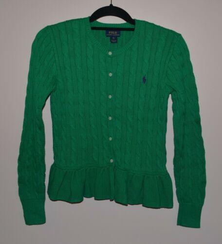 Polo Ralph Lauren Girls XL 16 Green Cable Knit Ruffle Hem Cardigan Sweater