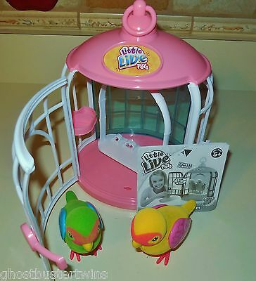 LITTLE LIVE PET TALKING REPEAT INTERACTIVE ROMEO JULIET LOVE BIRDS CAGE SET LOT
