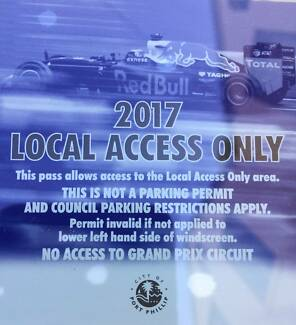 2017 Local Access Only Pass Melbourne Grand Prix - Parking Permit