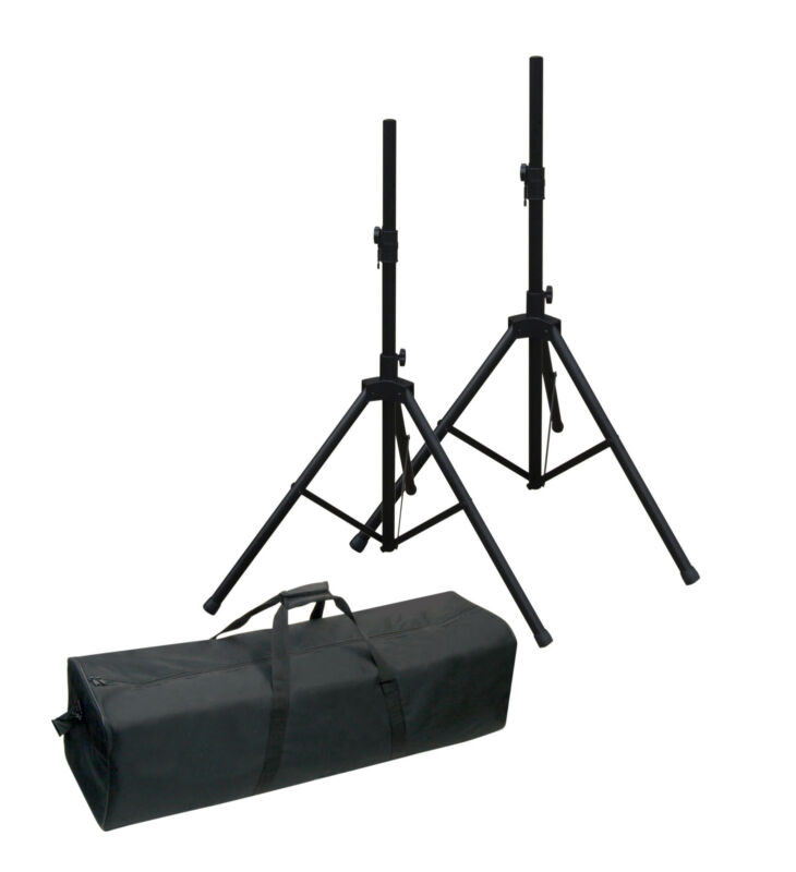 NJS 35mm Adjustable Aluminium PA Speaker Stand Kit (2) Black inc Tough Carry Bag
