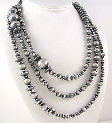 """Southwestern Navajo Pearls 925 Sterling Silver 5-16mm Beaded Necklace 60"""" J"""