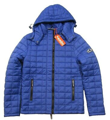 Superdry Men's Sport Code Royal Blue Box Quilted Fuji Full Zip Hooded Jacket