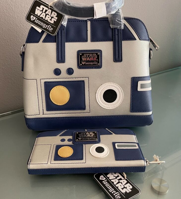 Loungefly Star Wars R2-D2 R2D2 NEW NWT Saffiano Faux Leather Bag Purse & Wallet