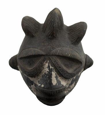 Masquette Votive Ibibio Mask Terracotta Diminutive Fetish Art African 6439