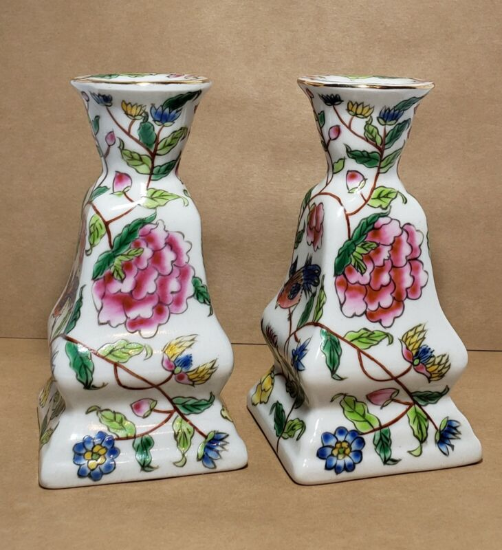 Vintage Porcelain Asian Candle Holders Hand Painted Birds, Flowers, Set of Two