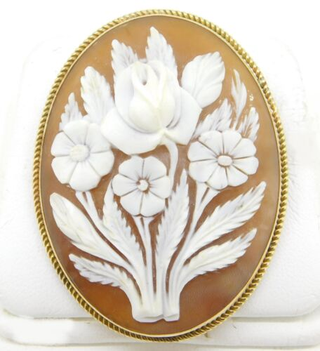 Gold-Filled Carved Floral Genuine Natural Shell Cameo Pin / Pendant (#J4259)
