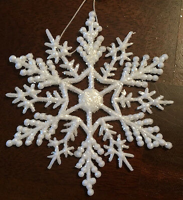"Vintage Set of 12 White Glitter Plastic 4"" Snowflake Christmas Ornaments NEW - White Plastic Snowflakes"