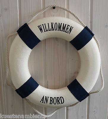 """Rettungsring 36cm blau/weiß """"Willkommen an Bord"""" für die maritime Dekoration"""