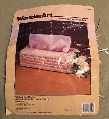 "VTG WonderArt TISSUE BOX Kit  6029 Peaches and Cream Approx. 9¾""L X 2⅝""H"