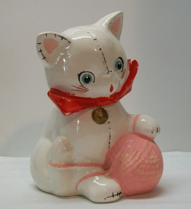 Cat Bank with Ball Yarn National Potteries Co. Cleveland OH Vintage Napco Bobby