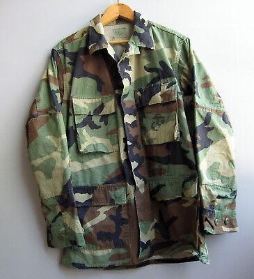 Vintage Camo Jacket Shirt Camouflage Green US Military Bdu Woodland Size Small Camo Bdu Military Shirt Jacket