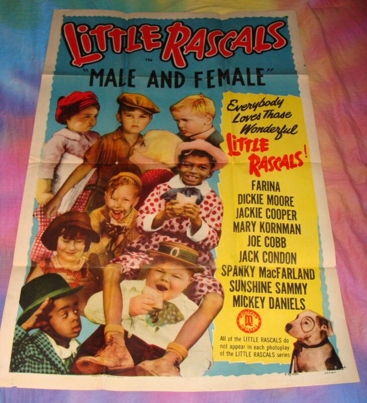 """LITTLE RASCALS """"MALE & FEMALE 41"""" X 27"""" MOVIE POSTER, OUR GANG,1951 Original"""