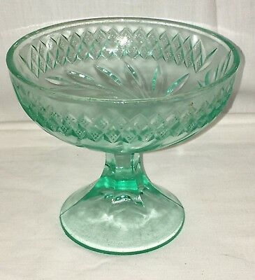 """US Glass FLORAL AND DIAMOND BAND *AQUQ BLUE GREEN *4 3/4"""" COMPOTE* #2*"""