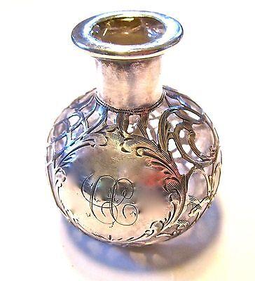 MAKE OFFER Antique Art Nouveau Sterling Overlay Glass Perfume Bottle Chips