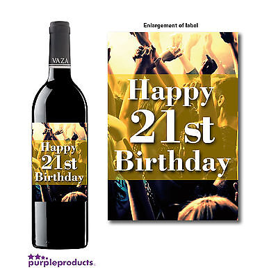 HAPPY 21st BIRTHDAY PARTY THEME WINE BOTTLE LABEL - 21st Birthday Theme