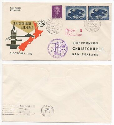1953 NETHERLANDS KLM Flight Cover Christchurch Race AMSTERDAM NEW ZEALAND London