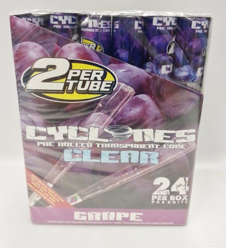 Full Box 24 Cyclones Grape Flavored Pre Rolled Cones Clear With Free Shipping
