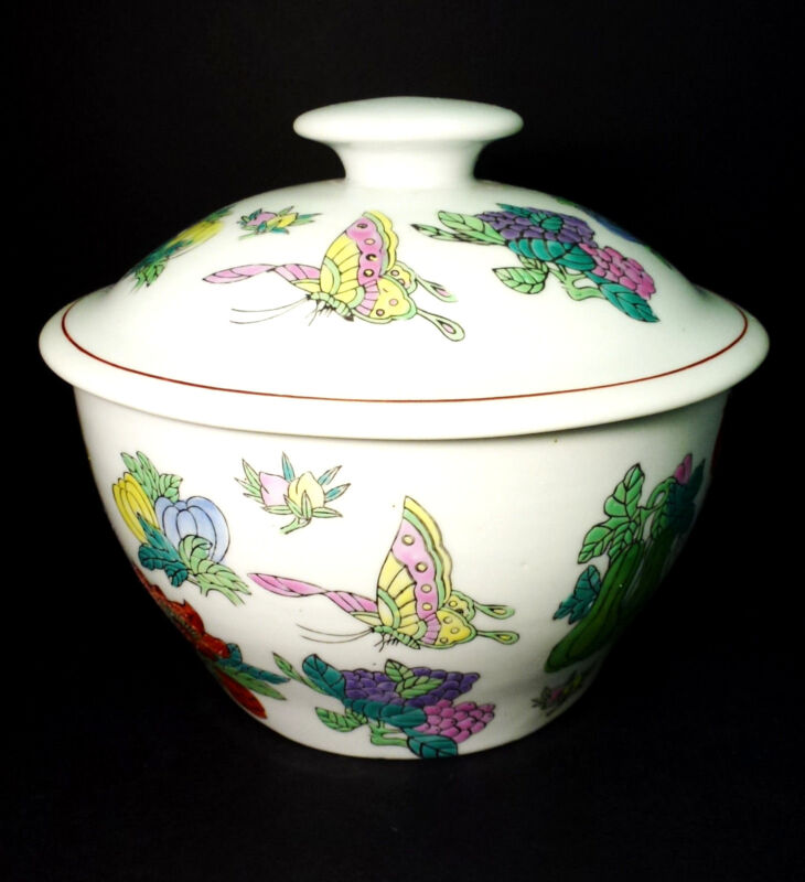Williams Sonoma Grande Cuisine Oriental Butterfly Floral Ginger Jar Canister