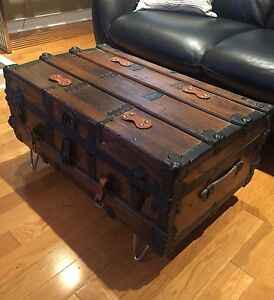 Antique Steamer Trunk- all wood- Coffee Table