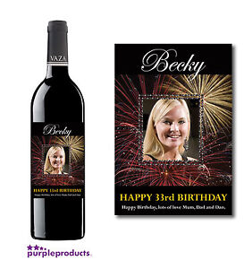 PERSONALISED PHOTO WINE, CHAMPAGNE, BEER LABEL BIRTHDAY GIFT 18th 21st 30th 40th