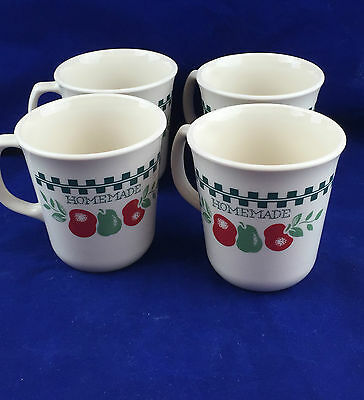 4 Corelle red apple Farm Fresh cups mugs green checkerboard trim made in USA