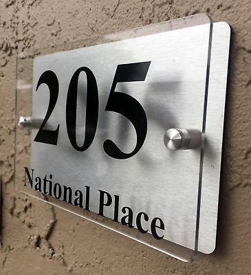 Modern House Number Plaque Sign Acrylic Aluminium Address Sign (House Address Sign)
