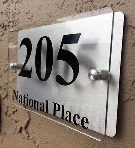 Modern House Number Plaque Sign Acrylic Aluminium Address Sign Custom
