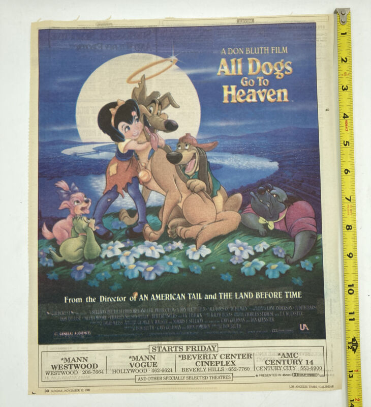 Rare All Dogs Go To Heaven 1989 Newspaper Full Page Color AD Los Angeles Theater