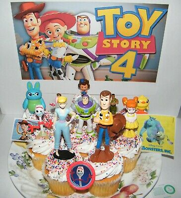 Disney Toy Story 4 Movie Cake Toppers 10 Old and All New Characters Forky