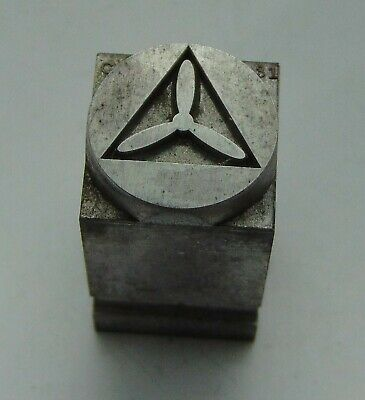 Vintage Printing Letterpress Printers Block Propeller In Triangle Circle